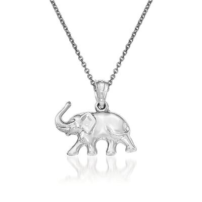 14kt White Gold Elephant Pendant Necklace