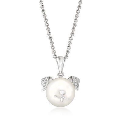 9.5-10mm Cultured Pearl Dog Pendant Necklace with Diamond Accents in Sterling Silver