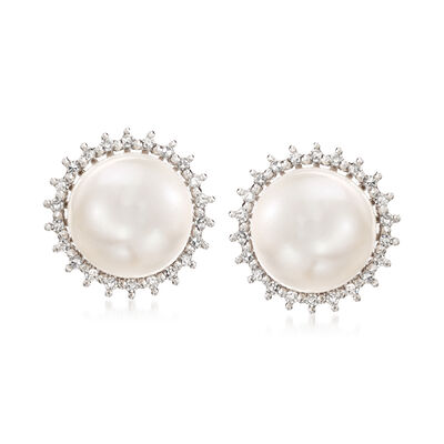 7.5mm Cultured Pearl and .12 ct. t.w. Diamond Halo Earrings in 14kt White Gold, , default