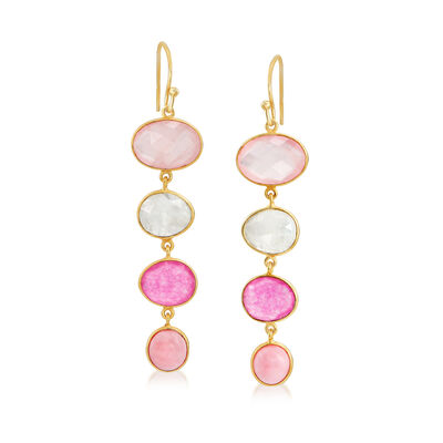 Multi-Gemstone Drop Earrings in 18kt Gold Over Sterling
