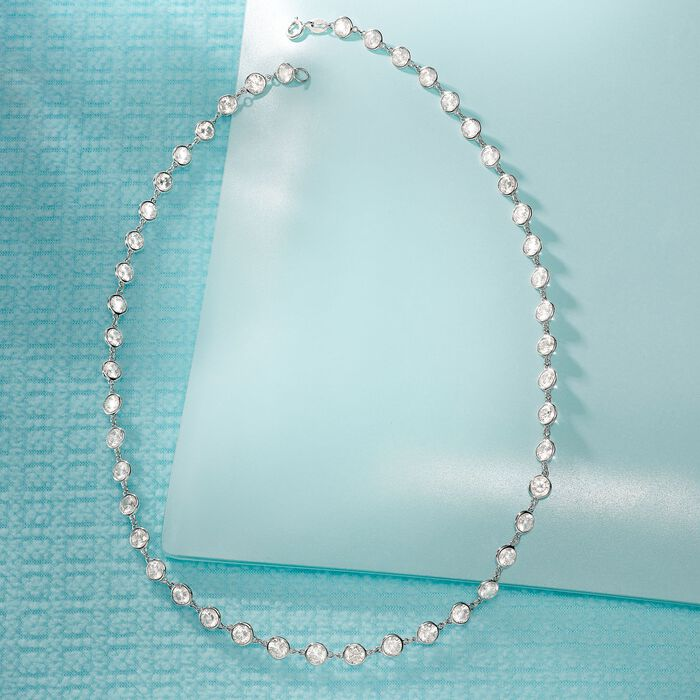 20.00 ct. t.w. CZ Station Necklace in Sterling Silver