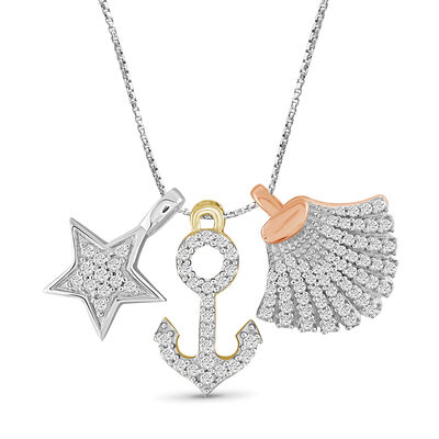 .33 ct. t.w. Diamond Nautical Charms Necklace in Tri-Colored Sterling, , default