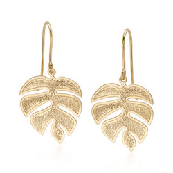 Italian 18kt Yellow Gold Tropical Leaf Drop Earrings, , default