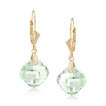 9.75 ct. t.w. Green Amethyst Earrings in 14kt Yellow Gold, , default