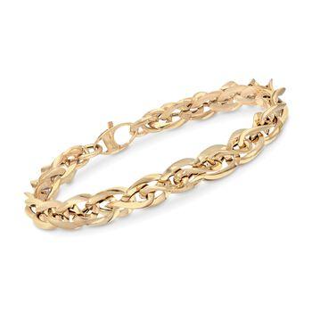 "Italian 14kt Yellow Gold Multi-Oval Curb Link Bracelet. 8"", , default"