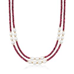 4-5mm Ruby Bead and 7-8mm Cultured Pearl Two-Strand Necklace With 14kt Yellow Gold, , default