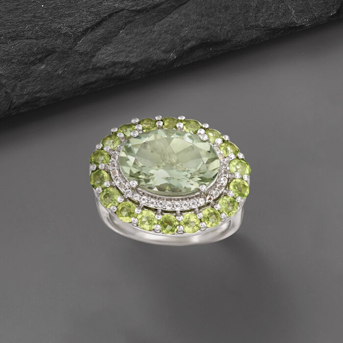 5.00 Carat Prasiolite and 2.30 ct. t.w. Peridot Ring with White Topaz in Sterling Silver