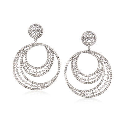 5.81 ct. t.w. Diamond Multi-Circle Drop Earrings in 14kt White Gold, , default