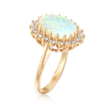 C. 1980 Vintage Opal and .45 ct. t.w. Diamond Ring in 14kt Yellow Gold. Size 5.25, , default