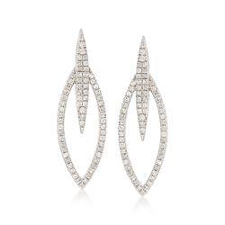 .75 ct. t.w. Diamond Open-Oval Earrings in 14kt White Gold , , default