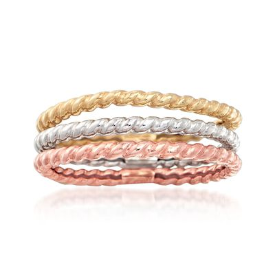 14kt Tri-Colored Gold Jewelry Set: Three Roped Bands
