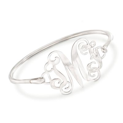 Sterling Silver Open Script Monogram Bangle Bracelet, , default