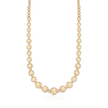 Italian 14kt Yellow Gold Graduated 2.5-9mm Bead Necklace, , default