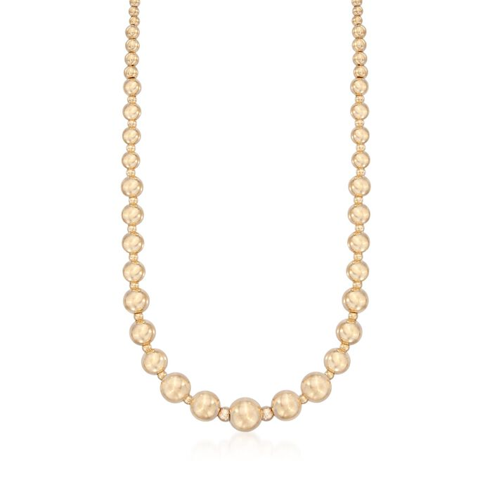 Italian 14kt Yellow Gold Graduated 2.5-9mm Bead Necklace, , default
