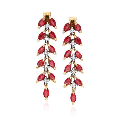 C. 1980 Vintage 1.75 ct. t.w. Ruby and .15 ct. t.w. Diamond Drop Earrings in 14kt Yellow Gold, , default