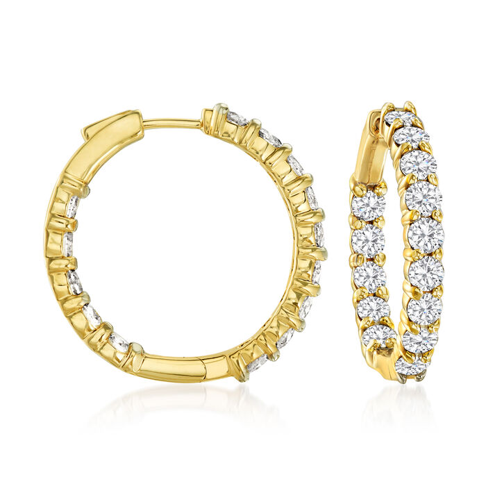5.00 ct. t.w. Diamond Inside-Outside Hoop Earrings in 14kt Yellow Gold