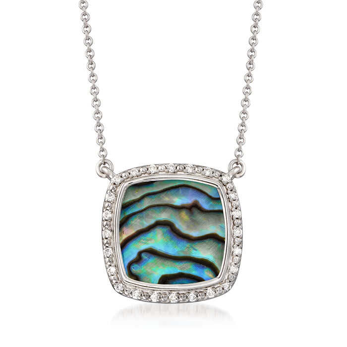 Abalone Shell Frame Necklace with Diamond Accents in Sterling Silver