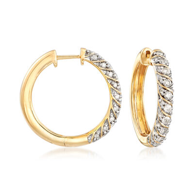 1.00 ct. t.w. Diamond Hoop Earrings in 18kt Gold Over Sterling, , default