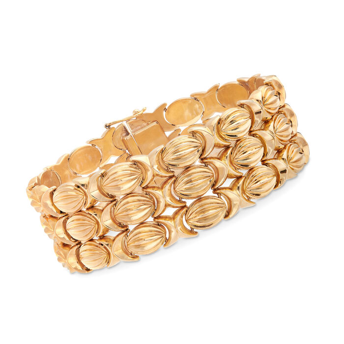 C. 1940 Vintage 18kt Yellow Gold Three-Row XO Bracelet. 7.5""
