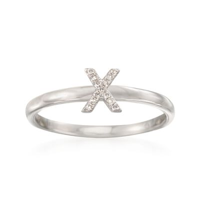 "Diamond Accent Mini Initial ""X"" Ring in Sterling Silver, , default"
