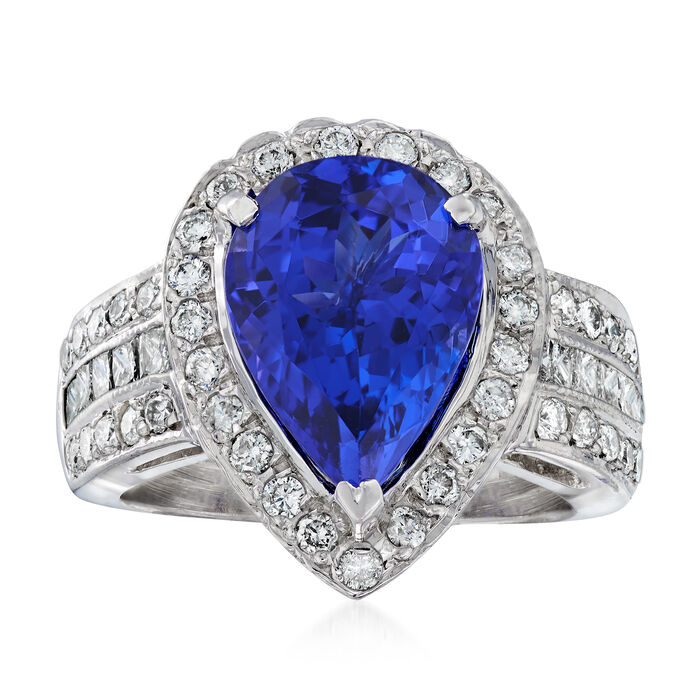 4.70 Carat Tanzanite and 1.11 ct. t.w. Diamond Ring in 14kt White Gold, , default