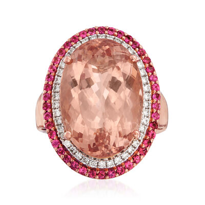 20.00 Carat Morganite, .70 ct. t.w. Pink Sapphire and .46 ct. t.w. Diamond Ring in 18kt Rose Gold, , default