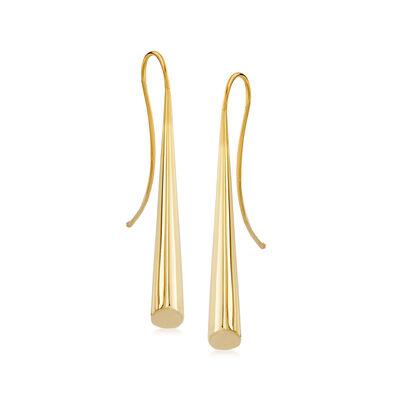 Italian 14kt Yellow Gold Cone Drop Earrings, , default