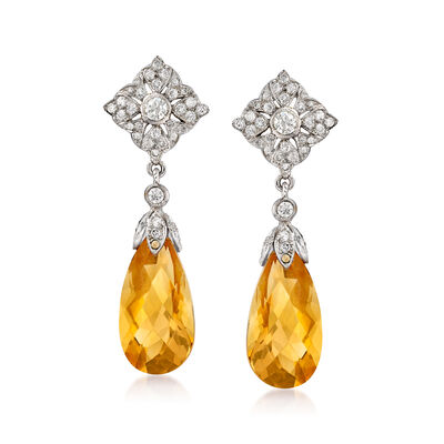 C. 2000 Vintage 11.66 ct. t.w. Citrine and .77 ct. t.w. Diamond Drop Earrings in 18kt White Gold