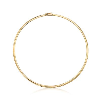 Italian 4mm 18kt Yellow Gold Omega Necklace
