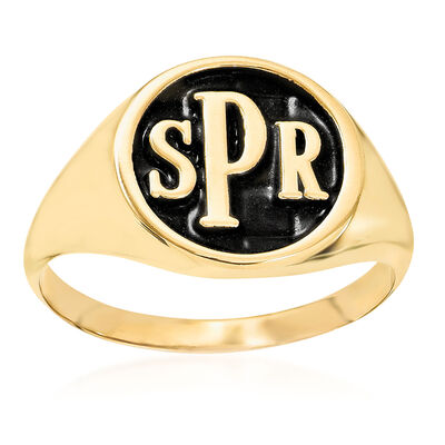 14kt Yellow Gold Antiqued Monogram Signet Ring, , default