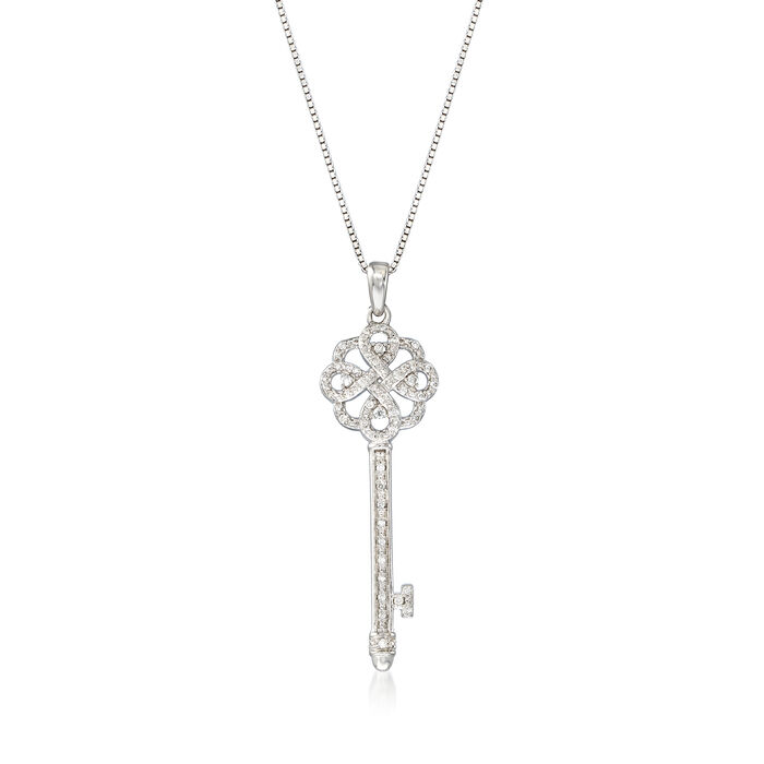 .15 ct. t.w. Diamond Key Pendant Necklace in Sterling Silver