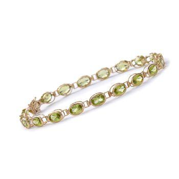 """9.65 ct. t.w. Peridot Bracelet in 14kt Yellow Gold. 7"""", , default"""