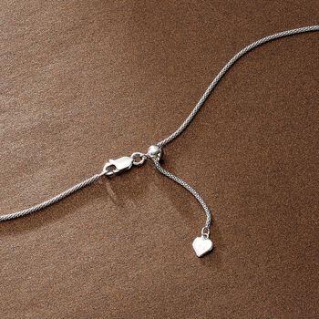 "Italian 1.4mm Sterling Silver Adjustable Slider Popcorn Chain Necklace. 24"""