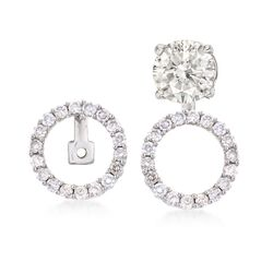 .51 ct. t.w. Diamond Open Circle Convertible Drop Earring Jackets in 14kt White Gold , , default