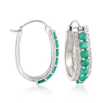 "3.20 ct. t.w. Opaque Emerald and .20 ct. t.w. Diamond Hoop Earrings in Sterling Silver. 1 1/8"", , default"