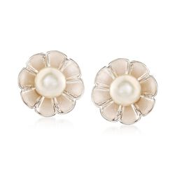 Italian 6mm Cultured Pearl Flower Earrings in Sterling Silver, , default