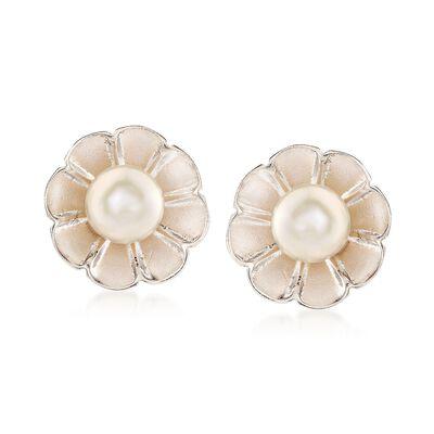 Italian 6mm Cultured Pearl Flower Earrings in Sterling Silver, , default