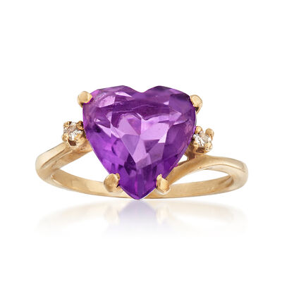 C. 1970 Vintage 2.75 Carat Amethyst Heart Ring With Diamond Accents in 14kt Yellow Gold, , default