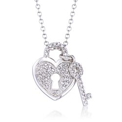 ".25 ct. t.w. Diamond Heart Padlock and Key Pendant Necklace in 14kt White Gold. 16"", , default"