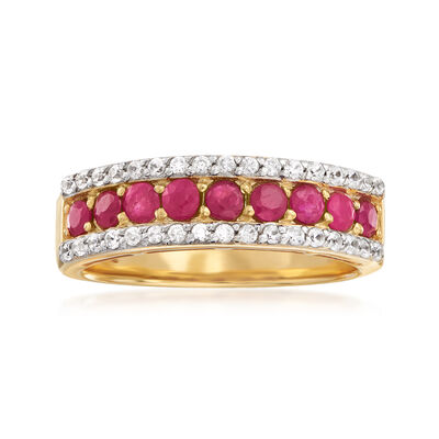 1.30 ct. t.w. Ruby and .30 ct. t.w. White Zircon Ring in 18kt Gold Over Sterling, , default
