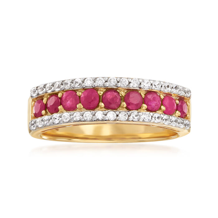 1.30 ct. t.w. Ruby and .30 ct. t.w. White Zircon Ring in 18kt Gold Over Sterling