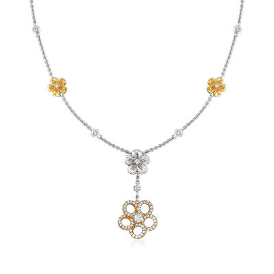 C. 1990 Vintage Jessica Fong .80 ct. t.w. Diamond Flower Drop Necklace in 14kt Two-Tone Gold, , default