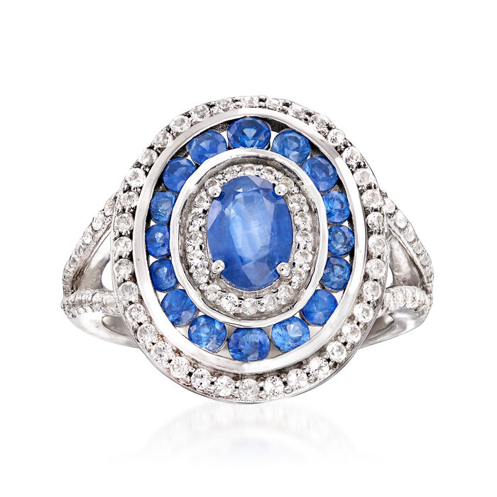 1.90 ct. t.w. Sapphire and .70 ct. t.w. White Topaz Ring in Sterling Silver, , default