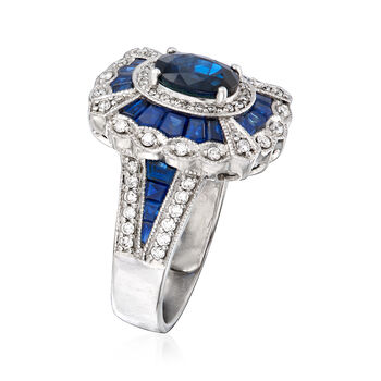 6.20 ct. t.w. Sapphire and .24 ct. t.w. Diamond Ring in 14kt White Gold