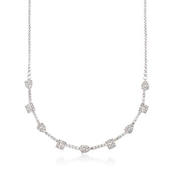 """5.30 ct. t.w. Pave Diamond Pear and Square-Shaped Station Necklace in 14kt White Gold. 20"""", , default"""