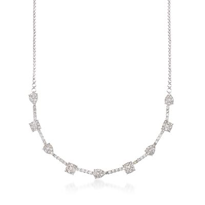 5.30 ct. t.w. Pave Diamond Pear and Square-Shaped Station Necklace in 14kt White Gold, , default