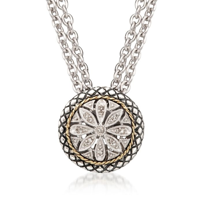 """Andrea Candela Diamond Accent Floral Pendant with Chain in 18kt Yellow Gold and Sterling Silver. 16"""""""