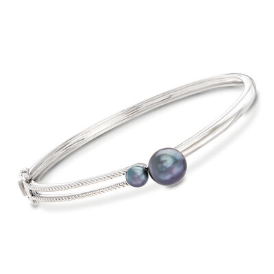 Black Cultured Pearl Bangle Bracelet in Sterling Silver, , default