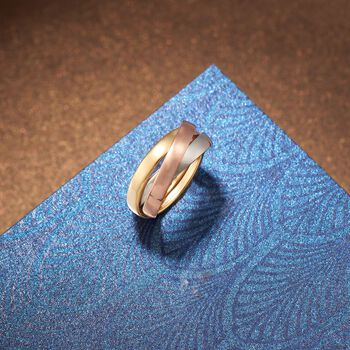 14kt Tri-Colored Gold Rolling Ring