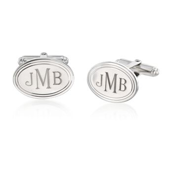 Sterling Silver Personalized Jewelry Set: Cuff Links and Shirt Studs, , default